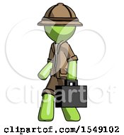 Green Explorer Ranger Man Walking With Briefcase To The Left