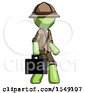Green Explorer Ranger Man Walking With Briefcase To The Right