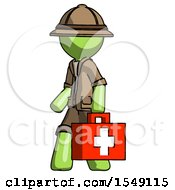 Green Explorer Ranger Man Walking With Medical Aid Briefcase To Left
