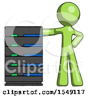 Green Design Mascot Man With Server Rack Leaning Confidently Against It