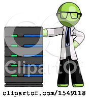 Green Doctor Scientist Man With Server Rack Leaning Confidently Against It