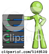 Green Design Mascot Woman With Server Rack Leaning Confidently Against It