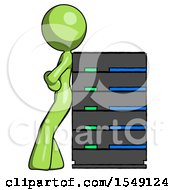 Green Design Mascot Woman Resting Against Server Rack