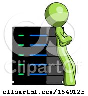Green Design Mascot Man Resting Against Server Rack Viewed At Angle