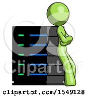 Green Design Mascot Woman Resting Against Server Rack Viewed At Angle