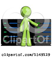 Green Design Mascot Man With Server Racks In Front Of Two Networked Systems