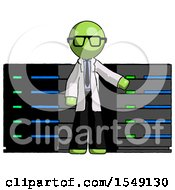 Green Doctor Scientist Man With Server Racks In Front Of Two Networked Systems