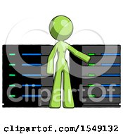 Green Design Mascot Woman With Server Racks In Front Of Two Networked Systems