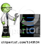 Green Doctor Scientist Man Server Administrator Doing Repairs