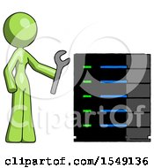 Green Design Mascot Woman Server Administrator Doing Repairs