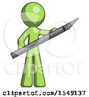 Green Design Mascot Man Holding Large Scalpel
