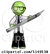 Green Doctor Scientist Man Holding Large Scalpel