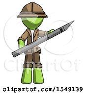 Green Explorer Ranger Man Holding Large Scalpel