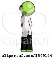Green Doctor Scientist Man Thinking Wondering Or Pondering Rear View