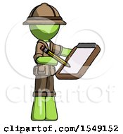 Green Explorer Ranger Man Using Clipboard And Pencil