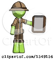 Green Explorer Ranger Man Showing Clipboard To Viewer