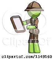 Green Explorer Ranger Man Reviewing Stuff On Clipboard
