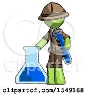Green Explorer Ranger Man Holding Test Tube Beside Beaker Or Flask