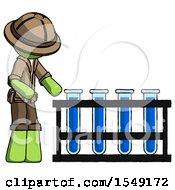 Green Explorer Ranger Man Using Test Tubes Or Vials On Rack