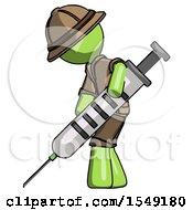 Green Explorer Ranger Man Using Syringe Giving Injection