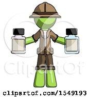Green Explorer Ranger Man Holding Two Medicine Bottles