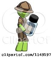 Green Explorer Ranger Man Holding Glass Medicine Bottle