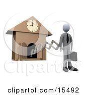 White Businesman In A Suit Holding A Briefcase And Sticking Out From An Arm Of A Cuckoo Clock Upon The Hour Of 9am Symbolising The Start Of A New Work Day Or Punctuality Clipart Illustration Image by 3poD