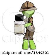 Green Explorer Ranger Man Holding White Medicine Bottle