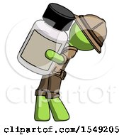 Green Explorer Ranger Man Holding Large White Medicine Bottle