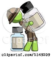 Green Explorer Ranger Man Holding Large White Medicine Bottle With Bottle In Background