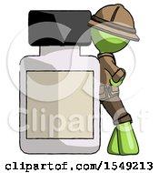 Green Explorer Ranger Man Leaning Against Large Medicine Bottle