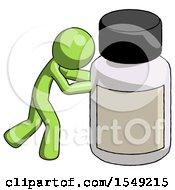 Green Design Mascot Man Pushing Large Medicine Bottle