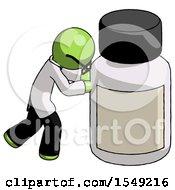 Green Doctor Scientist Man Pushing Large Medicine Bottle