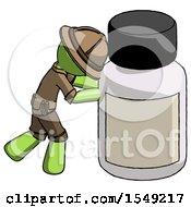 Green Explorer Ranger Man Pushing Large Medicine Bottle