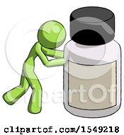 Green Design Mascot Woman Pushing Large Medicine Bottle