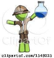 Green Explorer Ranger Man Holding Large Round Flask Or Beaker