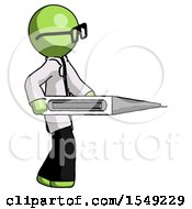 Green Doctor Scientist Man Walking With Large Thermometer