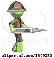 Green Explorer Ranger Man Walking With Large Thermometer