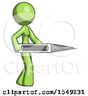 Green Design Mascot Woman Walking With Large Thermometer