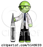 Green Doctor Scientist Man Standing With Large Thermometer