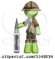 Green Explorer Ranger Man Standing With Large Thermometer