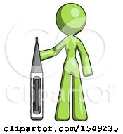 Green Design Mascot Woman Standing With Large Thermometer