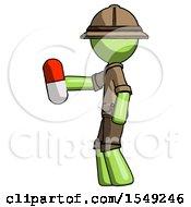 Green Explorer Ranger Man Holding Red Pill Walking To Left