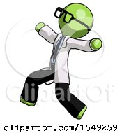 Green Doctor Scientist Man Running Away In Hysterical Panic Direction Left