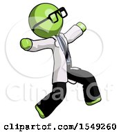 Green Doctor Scientist Man Running Away In Hysterical Panic Direction Right