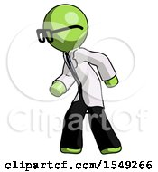Green Doctor Scientist Man Suspense Action Pose Facing Left