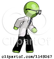 Green Doctor Scientist Man Suspense Action Pose Facing Right