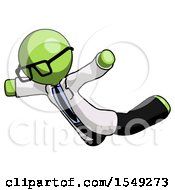 Green Doctor Scientist Man Skydiving Or Falling To Death