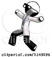 Ink Doctor Scientist Man Running Away In Hysterical Panic Direction Left