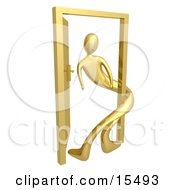 Gold Person Twisted Around The Frame Of An Open Door Symbolizing Lonliness Split Personalities Uncertainty And An Egotistical Person